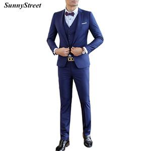 남자의 경력 블레이저 양복 Office Wear Career 비즈니스 정장 웨딩 파티 Slim Fit Jacket Vest Pants 3 점 세트 블루 그레이