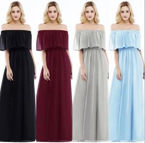 2018 neue elegante einfache aus der Schulter Chiffon Brautjungfer Kleider billig schwarz bodenlangen Hochzeitsgäste Party Wear CPS952