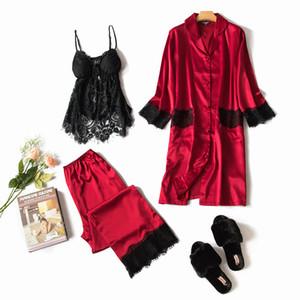 Freshing Summer 3 piezas con encaje negro sexy pijama conjunto Cardigan + camisón + Conjunto de pantalón largo Pijama