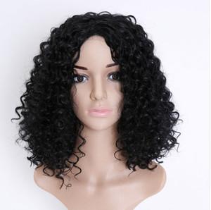 16 인치 합성 아프리카 곱슬 가발 블랙 색상 비 레이스 가발 전체 자연 머리