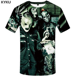 KYKU Slipknot Camiseta Homens Banda Camiseta Verde Hip Hop Tee Streetwear Anime Roupas Personagem 3d T-shirt Do Punk Rock Mens clothing