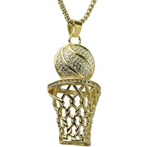Hip Hop Bling Iced Out Rhinestone-Basketball-Anhänger-Halskette Edelstahl-Sport-lange Halskette für Männer Schmuck, Gold, Silber 2 Farben