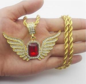 top collier cadeau Dieu Ange Ailes avec Big Red Stone Collier Pendentif Hommes Femmes Iced Out Bijoux
