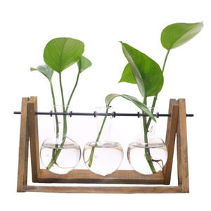 Plant Terrarium with Wooden Stand Glass Vase Holder for Home Decoration,Scindapsus Container (3 Terrariums)