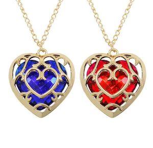 Zelda Legend Heart Shaped Kristall Halskette Legierung Vintage Gold Rahmen Liebe Hallow Halsketten Anhänger Für Frauen Modeschmuck Geschenk Neu