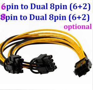 8 pin / 6 pin PCI Express a 2 x PCIe 8 (6 + 2) pin Scheda video grafica della scheda madre PCI-e GPU VGA Splitter Hub Cavo di alimentazione 20 cm 20 pz / lotto