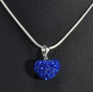 2018Lostest Preis! Herz Kristall Shamballa Halskette versilbert Schmuck Strass Disco Kristall Bead Halskette Frauen Schmuck Geschenk