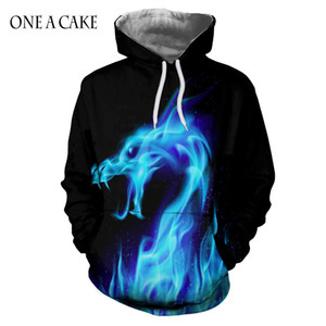 EINE A CAKE Hot Fashion Hoodies Männer / Frauen 3d Sweatshirts Drucken Fire Dragon Hooded Hoodies Schlange Sweatshirts Unisex Pullover