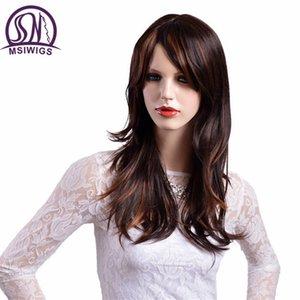 MSIWIGS طويل مستقيم الشعر الاصطناعية الباروكات بني مع الأصفر يبرز الباروكة الطبيعية أومبير للنساء ارتفاع درجة الحرارة الألياف