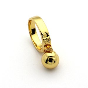 Titanium steel jewelry wholesale T letter hanging bead ring 18K gold hanging ball ring ladies ring