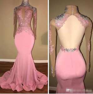 Sexy Pink Backless High Neck Evening Gown Mermaid Sequins Beaded Formal Prom Party Gown Long Sleeves Evening Dress