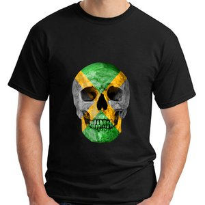 2018 Fashion New Jamaica bandera jamaicana del cráneo - Skull Jamaica Flag Rasta Irie camiseta negra personalizada impresión Casual O - Neck Top Tee