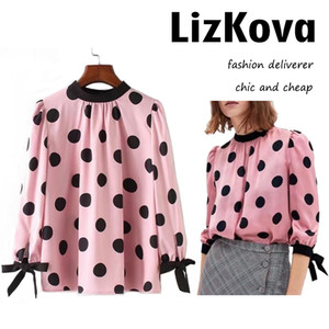 Women Mock Neck Polka dot Blouse Back Button Down Shirt Half Sleeve Office Tops Shirt 2018 Korean Spring Summer Top
