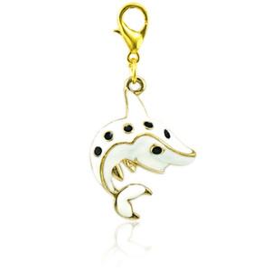 Fashion Floating Hummer Verschluss Charm Dangle White Emaille Dolphin Tier Charms DIY Für Schmuck Machen Zubehör