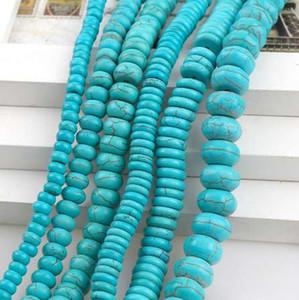 ManmadeStone Blue Sky Turquoises Howlite Perles en vrac Abacus Spacer graines Pierres de bricolage Perles Bracelets Collier Bijou