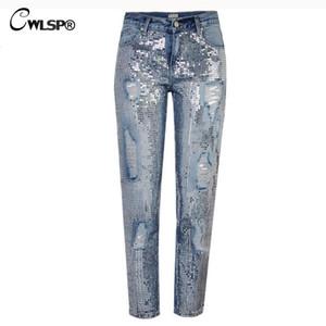CWLSP Plus Größe Bling Pailletten Niedrige Taille Jeans Frau Löcher Jeans Knöchellangen Blaue Hosen Freund Hosen für Frauen QL3541