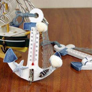 Estilo mediterráneo de madera ancla termómetro náutico de la decoración que cuelga del gancho artesanía Arte suspensión de la pared decoración del regalo de la vendimia
