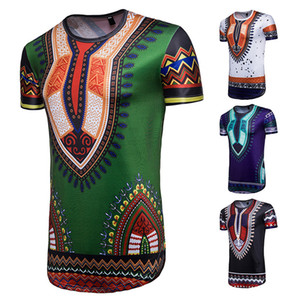 Мужские чернила Пейсли с короткими рукавами футболки мода нерегулярные Африканский этнический стиль большой размер футболки Оптовая личность геометрические топы тройники