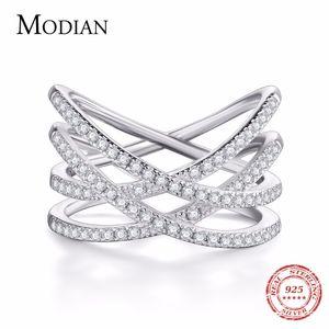 Modian 2018 аутентичные 925 стерлингового серебра простой палец кольцо мода преувеличены сверкающие плетеный для женщин свадебные украшения D18111306