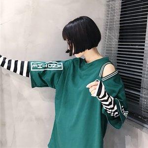 T 셔츠 Femme 2017 봄 의류 여성 한국어 울산 하라주쿠 스트라이프 슬리브 패치 워크 False 투피스 긴팔 티셔츠