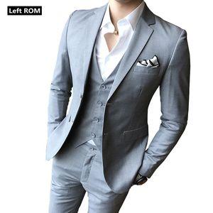 ( Jacket + Vest + Pants ) Mens Fashion Boutique Solid Color Groom Wedding Dress Formal Suits / Mens Formal Business Suit 3 Piece