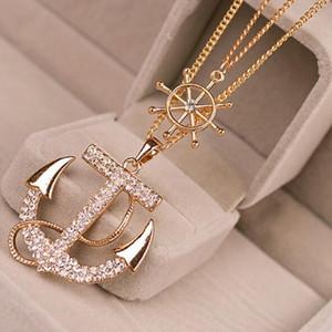 Moda marinha completa broca âncora colar camisola cadeia dupla incrustada colar de diamantes Colar Camisola + Navio Da Gota