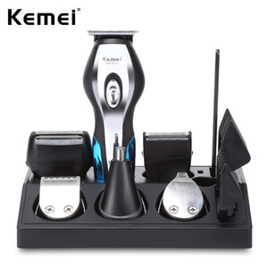 Kemei km-5031 11 em 1 máquina de cortar cabelo aparador de orelhas aparador de nariz 3-lâmina de barbear gravura trimmer grooming kit com 4 guia pentes