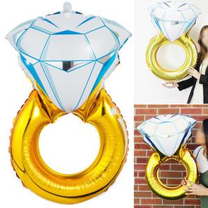 Mtrong Te 50pcs / lot boda diamante anillo de aluminio globos decoración de la boda suministros hermosa forma de anillo de diamantes globos de helio