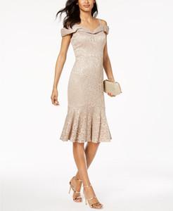 2019 RM Richards vestidos de madre de la novia hermosa sirena Champagne Spaghetti hasta la rodilla de encaje Abendkleid vestido de fiesta de la madre de la boda