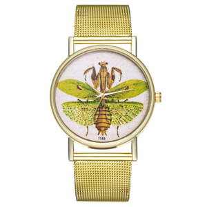 2020 Women Fashion Watches Insect Mesh Stainless Steel Band Watches Quartz Casual WristWatches Watch Ladies Wrist Watch Clock Accessories
