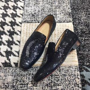 [Caja original] Mocasines de diente de león negro lentejuelas zapatillas de cuero plano inferior rojo para mujeres hombres Slip on Oxford diseñador de lujo partido del patín