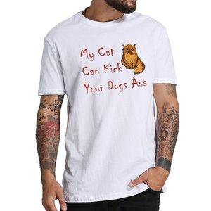 100% Algodão Homens Tshirt Meu Gato Pode Chutar Seu Cão Ass Humorístico Frase Impressão Camiseta Gráfico Dos Desenhos Animados Engraçado Gato T Shirt Masculino