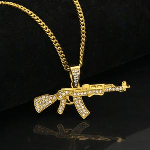 Сплав AK47 Gun ожерелье Iced Out Rhinestone с Hip Hop Майами кубинский Chain Золото Серебро Цвет Мужчины Женщины Jewelry