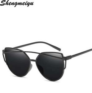 Новый Cat Eye солнцезащитные очки женщин бренд дизайнер моды оттенки очки Twin-Beams зеркало солнцезащитные очки для женщин UV400