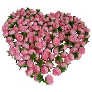 """100pcs di seta artificiale rosa 1.2 """"testa di fiore gemma 8 colori casa matrimonio decorazioni per la casa clip di capelli fiori artificiali visualizzazione della festa nuziale fiore"""
