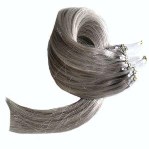 Silver Grey Micro Bead Haarverlängerungen 1g Tragen Sie Natural Human Micro Link Haarverlängerungen Human Straight Micro Loop Haarverlängerungen peruanisch auf