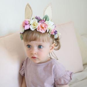orejas de conejo de moda nupcial corona del niño de flor de la corona conejito venda del bebé apoyo de la foto del bebé Festival de flor de la corona
