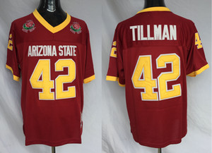 Mens Arizona State Sun Devis 42 Pat Tillman College Football maglie Maroon ASU Camicie Pat Tillman annata di calcio 1997 Rose Bowl Patch