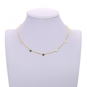 شعبية المختنق قلادة دقيق متعدد الطبقات نجمة ذهبية قلادة قصيرة للنساء الأزياء 100 ٪ 925 الفضة الاسترليني مجوهرات بسيطة