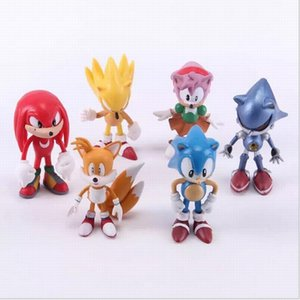 6Pcs set Anime Cartoon Sonic The Hedgehog Action Figure Set Doll Toys Promotion Xmas Gift Collection Cake Topper Party Decoration