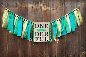 New Boy 1st Jungle Woodland Tema Birthday Party Garland Bunting Green Moustache Barba Gold ONEDERFUL Highchair Banner Decor