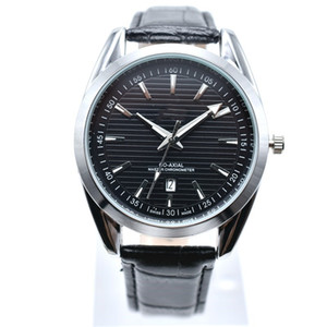 Satışa yeni stil 40mm yuvarlak deri kuvars moda erkek saatler otomatik tarih erkekler elbise tasarımcısı İzle toptan erkek hediyeler saatler relogios