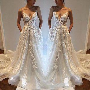 2018 apliques de encaje sexy vestidos de boda del país modestos espaguetis Backless elegante Beach Boho vestidos de novia de la vendimia barato por encargo