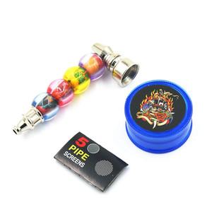Tubulação De Fumo De Metal E Plástico Herb Grinder Kit Set Pequeno Tubo De Bolso Tubo De Bolha Com 5 Telas Assorted