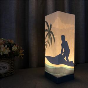 Indoor-Papier Schatten Night USB Beleuchtung Surf Beleuchtung Hauptdekoration Leuchten Tisch LED-Licht als Geschenk für Kinder Großhandelsdropshipping
