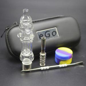 NC EGO Kit mini filetage 510 Verre Water Nail Cire avec fermeture à glissière Nouveau Tuyaux de silicium JAR Dabber Bongs Titanium Case LJXGD