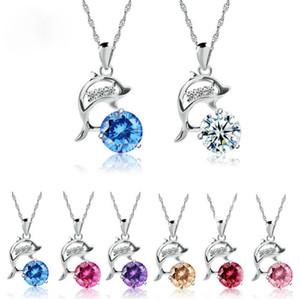 1 шт. симпатичные Дельфин ожерелье с алмазным кулон покрытием серебряный ключицы цепи ожерелье в коробке девушка хороший подарок свободный корабль