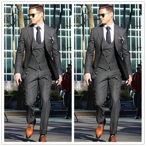 Custom Made Erkekler 2017 Resmi Damat Giyim Suits Erkekler Smokin Koyu Gri Gelinlik Erkekler 3 Parça Iş Takım Elbise (Ceket + Pantolon + Yelek + Kravat)