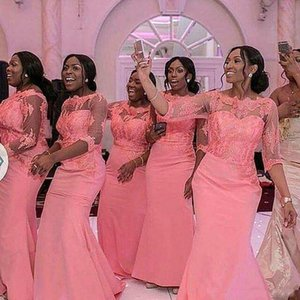 2019 Hermosa rosa rubor Sirena africana Tallas grandes Vestidos de dama de honor mangas largas Vestidos de invitados de boda Vestidos vintage Vestidos de fiesta formales