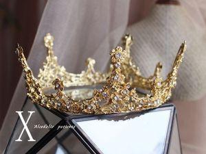 Prickelndes Gold Strass Hochzeit Brautkrone Tiara Brautoberteil Frauen Ladie rundes Kristallhaar Crown